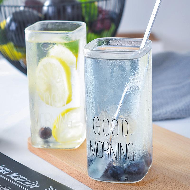 创意goodmornng玻璃早餐杯子 耐高温ins果汁杯咖啡牛奶杯礼品直销
