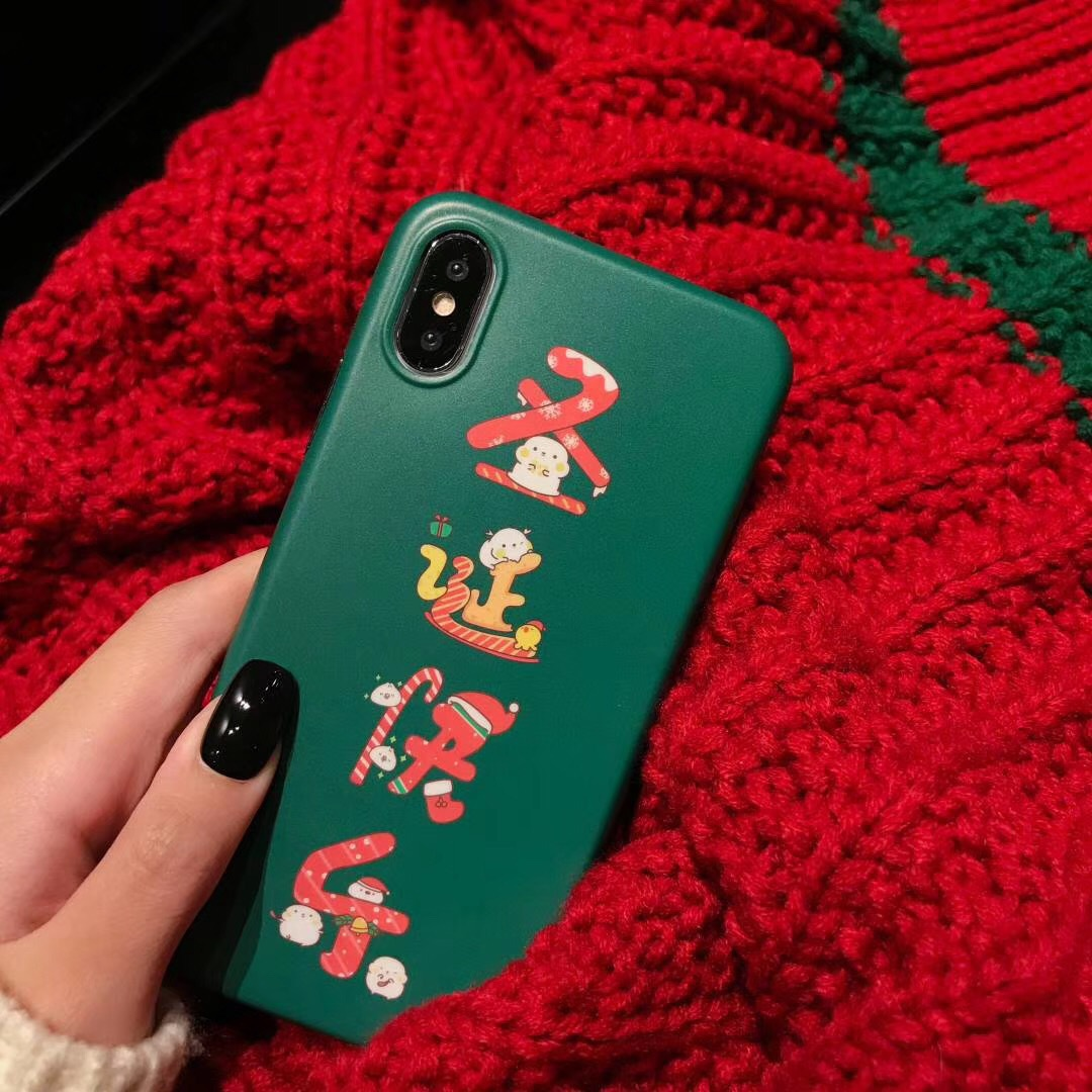 XR Merry Christmas r15 creative text iphone8plus mobile phone shell Apple XSmax soft for vivox23