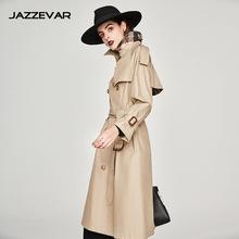 嘉泽华2019春秋新款女装双排扣加长款风衣女外套变色龙风衣女外套