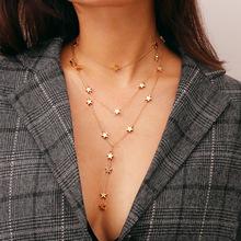 歐美跨境飾品星元素個性潮款時尚商務項飾 星星吊墜流蘇多層項鏈
