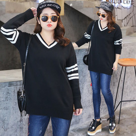 Direct supply to fat sister plus fertilizer XL women's autumn and winter new V-neck sweater top M005
