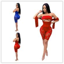 亚马逊爆款货源 欧美爆款女装性感蕾丝裹胸露脐修身连体裤连体衣