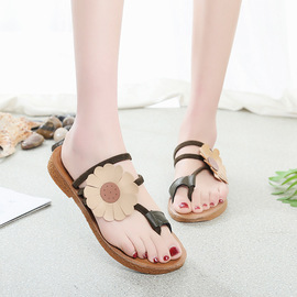 Summer new women's sandals set toe flowers fashion two wear sandals and slippers