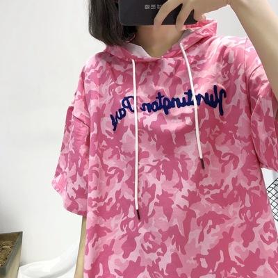 实拍 韩版oversize风迷彩连帽刺绣毛巾绣字母中袖中长款T恤裙