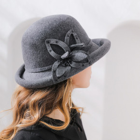 Embroidered wool flower curled edge wide woolen felt hat round top hat lady