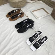 韩国东大门代购同款厂家正品批发女鞋绑带露脚面新款潮高跟凉鞋