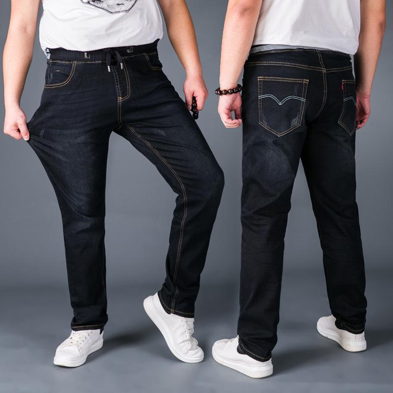 弹力松紧腰牛仔裤男青年加肥加大码胖子大号宽松秋冬系带直筒长裤