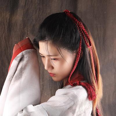 2pcs Retro Wind Palace chinese ancient hanfu Hair Rope for men women fringe hair band Hair Accessories Hanfu fairy princess swordsman warrior Ancient hair ribbon Accessories