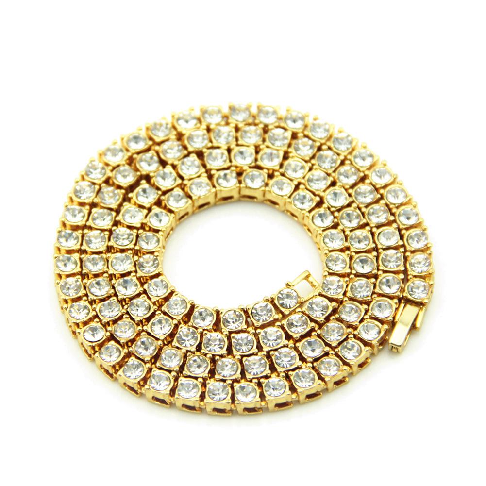 外贸饰品亚马逊爆款  欧美镶钻嘻哈男士单排水钻合金项链挂件