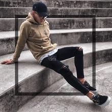 跨境专供牛仔裤男士新款黑色破洞弹力拉链男装小脚裤欧美潮流爆款