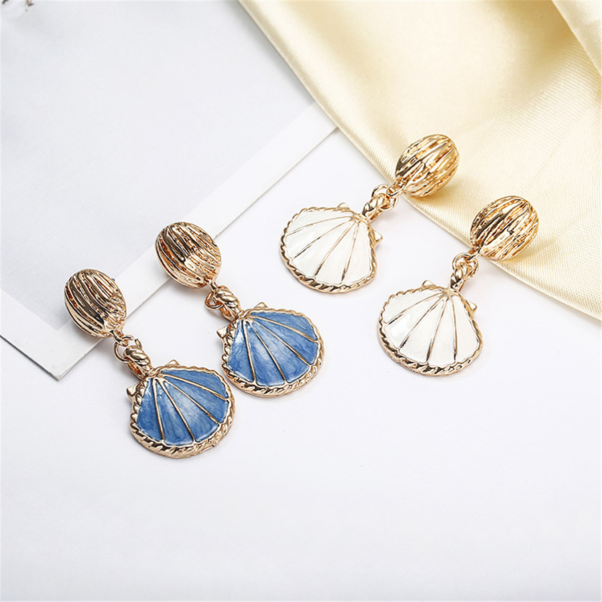 New fashion color retention plating retro marine wind shell ear pin earrings wholesale NHPF203606
