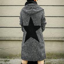 歐美新款連帽針織開衫2018秋冬長款加厚毛衣女速賣通爆款女裝外套