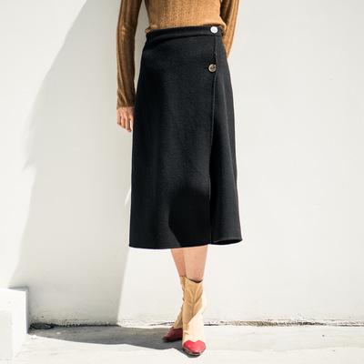 2018秋冬新款韩版网红双面羊绒羊毛轻熟通勤一片式包臀裙舒适7285
