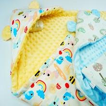 新生儿抱被初生婴儿包被宝宝抱毯秋冬加厚外出保暖睡袋豆豆珊瑚绒