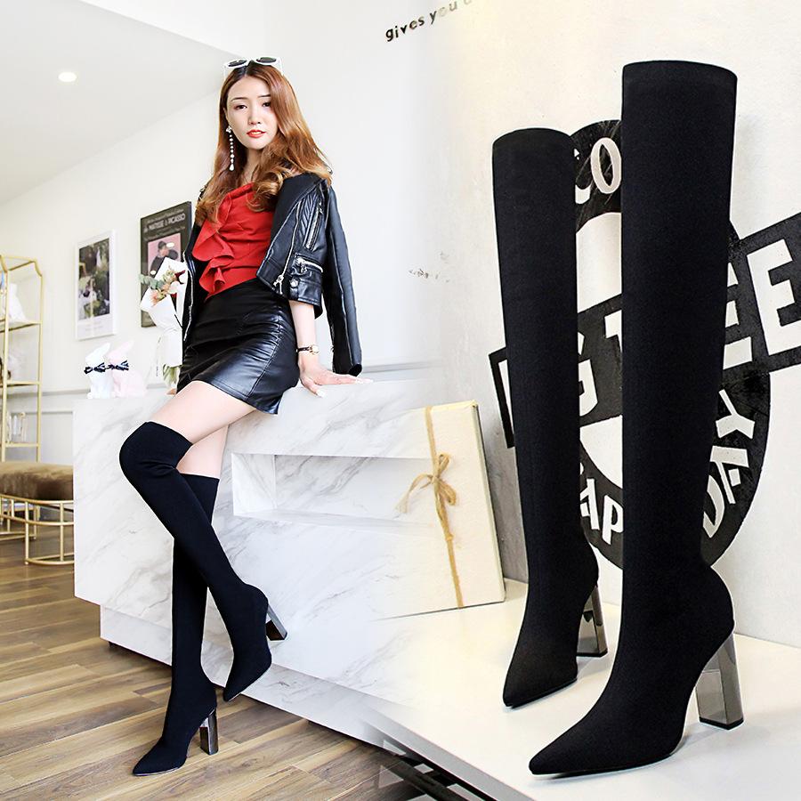 3128-1欧美时尚简约金属跟粗跟高跟尖头性感夜店显瘦毛线过膝长靴