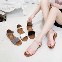女鞋2018夏季韓版時尚魚嘴鞋涼鞋低跟一字帶女鞋一件代發