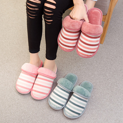 New Winter Home Warm Cotton Slippers for Men and Women Indoor Slip-proof, Thick-soled Wood Floor, Cotton Shoes, Fluffy Cotton Slippers