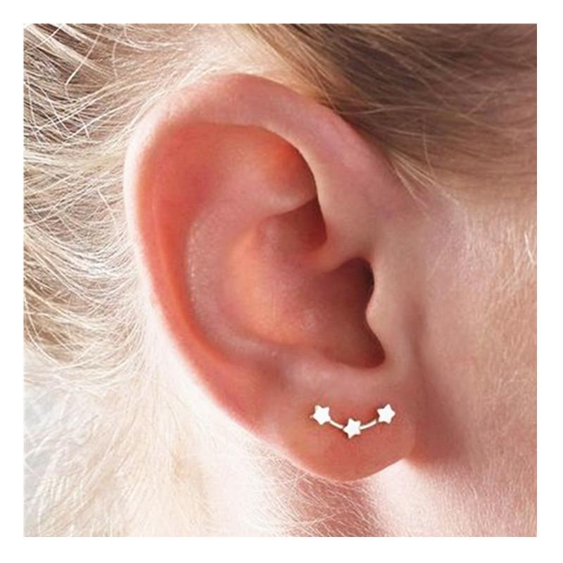 Fashion three little stars constellation stud earrings NHPF141082
