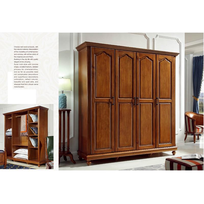 小美式实木四门衣柜 全实木胡桃木色拉门2米长衣柜卧室储物大衣橱