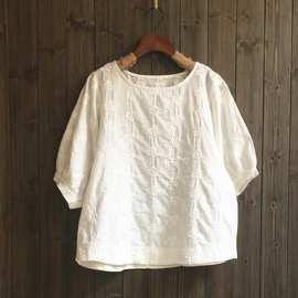 跨境2019夏季女装新款日系森系棉布梅花刺绣中袖白T恤女JN10752