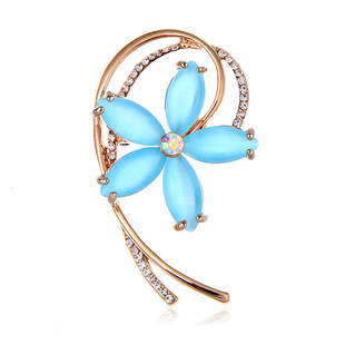 European and American high-end alloy opal sun flower brooch female fashion simple clothing with accessories custom retro corsage