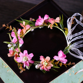 Color garland headdress Travel photo flower garland accessories Children's show cute garland hair accessories