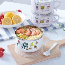 儿童餐具不锈钢韩式卡通图案带盖保温泡面碗保鲜圆形大容量饭菜盒
