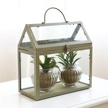 廠家直銷房屋型吊鏈玻璃花房 永生花苔蘚綠植玻璃罩歐式玻璃花盆