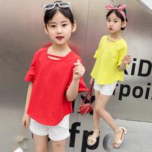 厂家直供中大童韩版童装2018夏季新款童套装纯色童套装批发