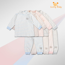 儿童精梳棉保暖翻领内衣套装一件代发新款打底衣新款婴儿条纹睡衣