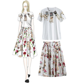 Neon boutique women's spring and summer new mercerized cotton dog print T-shirt pleated skirt set 8030308