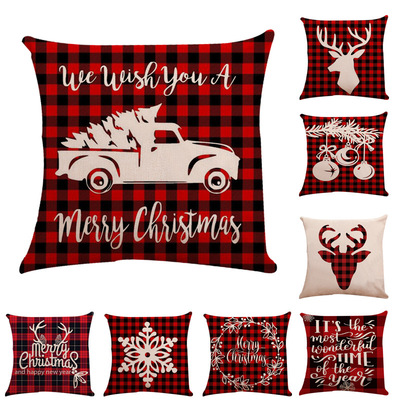 18'' Cushion Cover Pillow Case Christmas check linen pillow cover car sofa pillow cushion happy Christmas pillow worker