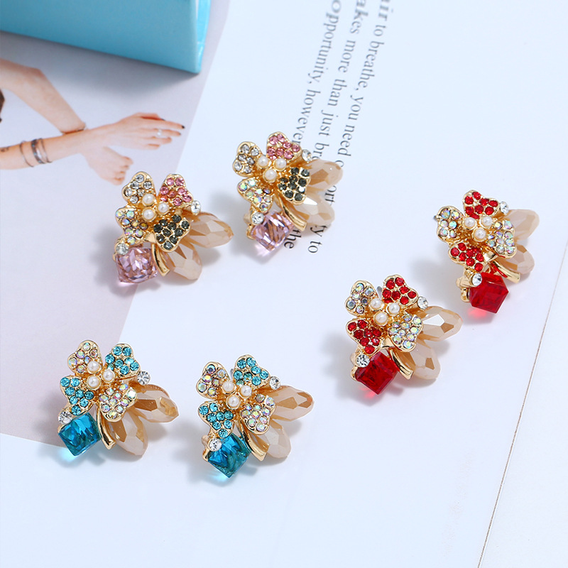 Alloy Fashion Flowers earring  (Pink KC Alloy) NHKQ2165-Pink-KC-Alloy