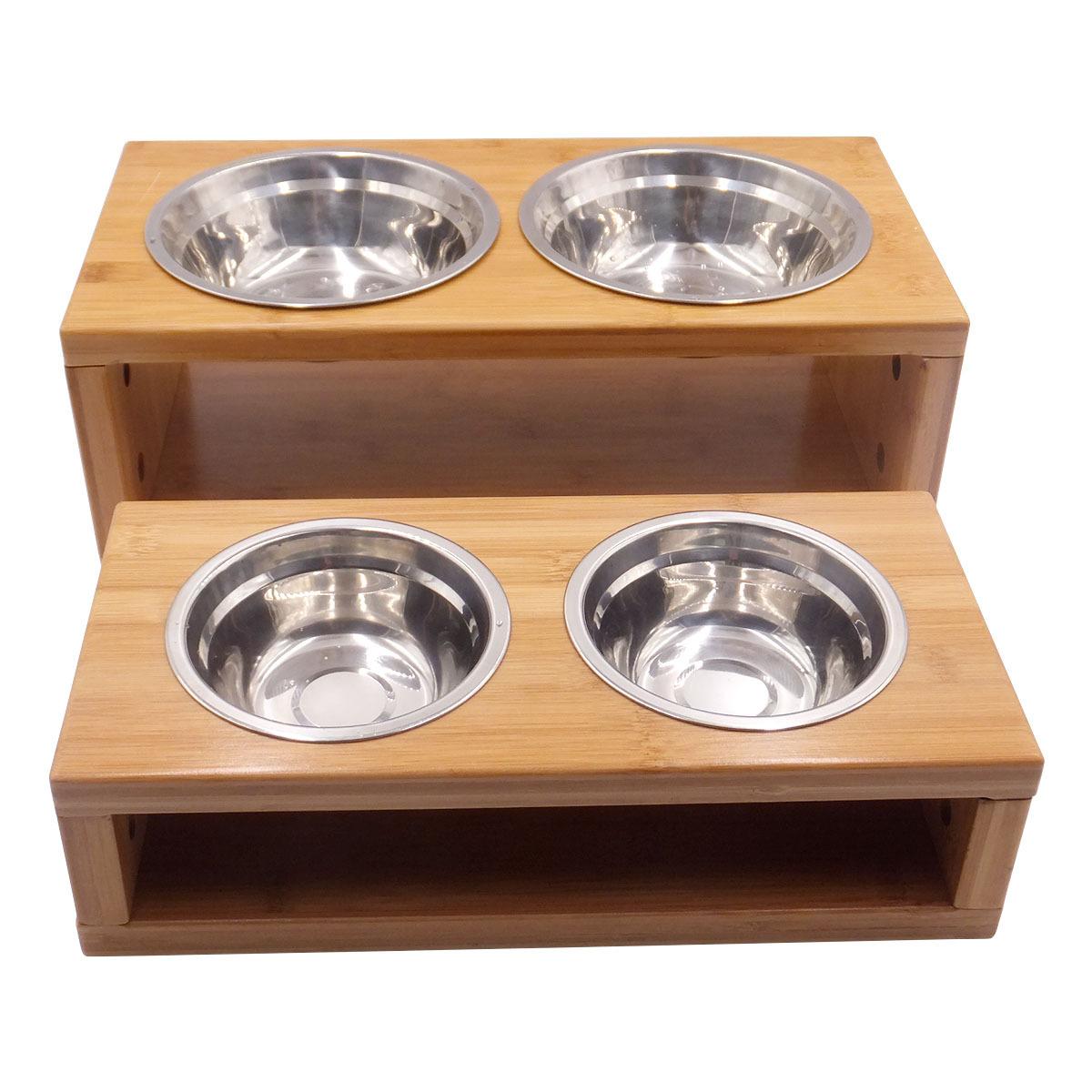 竹木喂食器 喂食饮水两用狗狗猫咪通用 碳化竹狗碗 厂家定制