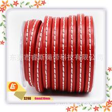 厂家专业定制10*6MM环保车线扁牛皮绳大红色高档进口真牛皮绳