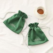 厂家生产定做色丁布束口袋拉绳丝绸袋化妆品仿真丝包装布袋批发