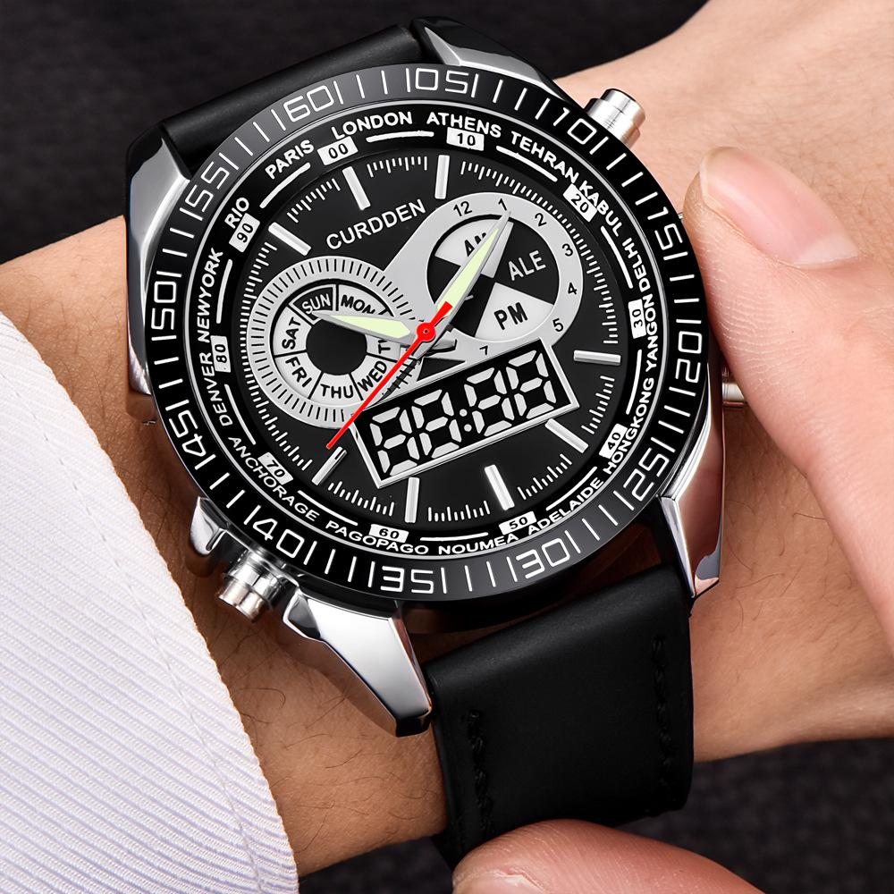 Mens Digital Watches Curdden Japan Movt Chronograph Watch