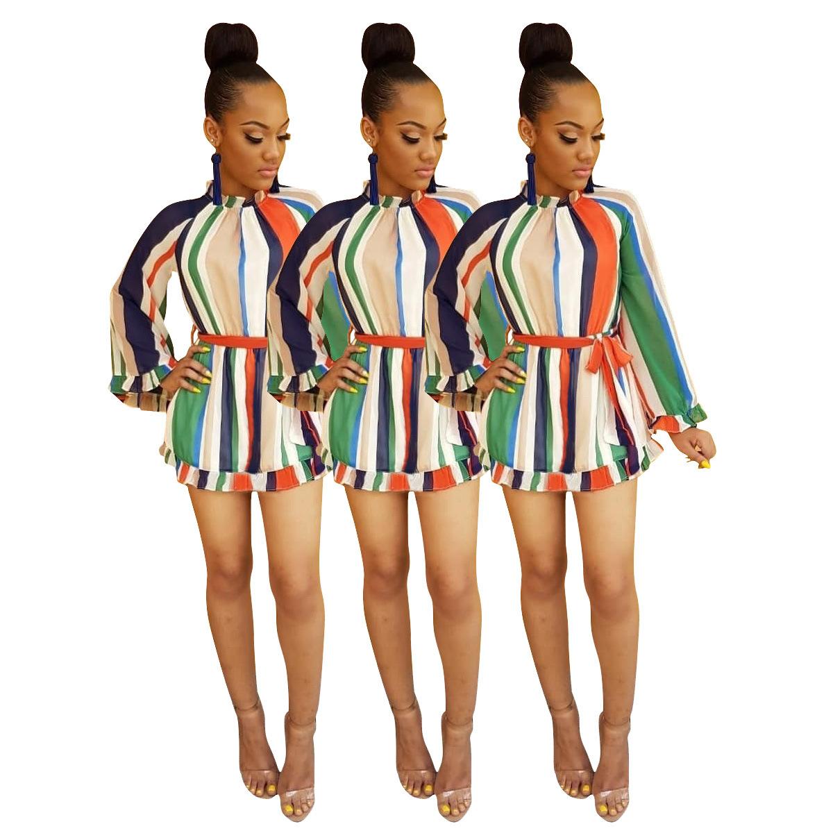 D9017亚马逊ebay速卖通wish热卖欧美女装 彩色条纹印花宽松连衣裙