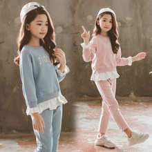 INS explosion new children's suit girls autumn out in the big children sequins rabbit two-piece foreign trade
