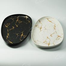 瓷岛 三角形深盘 黑色闷青金白金色 裂纹金盘 酒店创意陶瓷