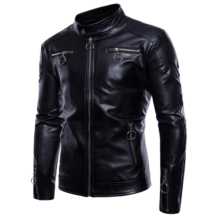 Sumiton Amazon spring and autumn new men's stand collar motorcycle leather coat men's large leather jacket PU leather jacket