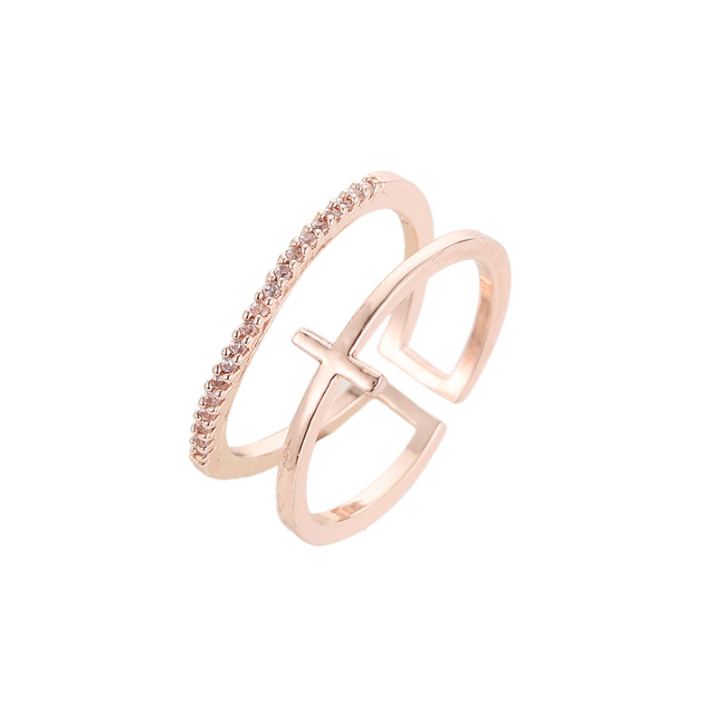 New Rose Gold Cross Plated Inlay Ring Multilayer Open Ring NHDP192615
