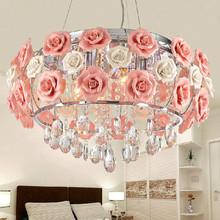简约田园创意玫瑰花水晶吊灯温馨浪漫卧室吸顶灯LED客厅餐厅灯具