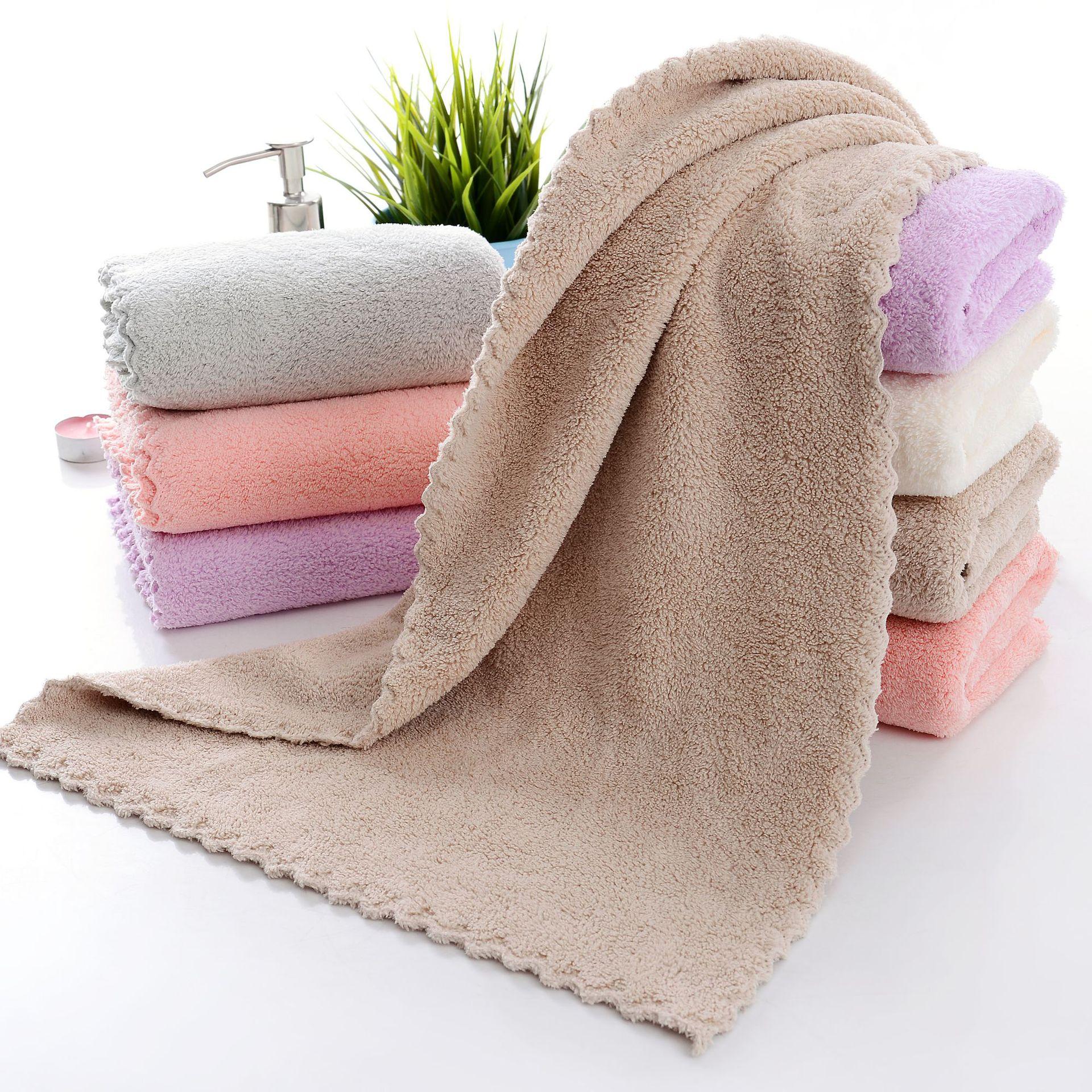 高密珊瑚绒切边毛巾素色洗脸面巾柔软吸水礼品家用不退色不脱毛