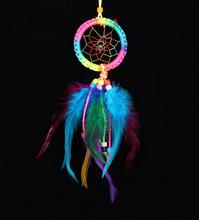 七彩捕夢網 手工編織羽毛飾品 編織家居工藝品裝飾掛件