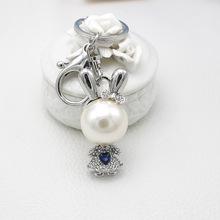 新款珍珠兔子水钻钥匙扣创意女士箱包挂件可爱卡通动物汽车钥匙链