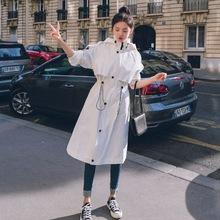 主推 ins韓風氣質抽繩收腰連帽風衣女修身顯瘦大擺白色外套學院風