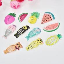 新款儿童发夹动物图案BB夹 水果BB夹烤漆印花水滴夹 淘宝热卖头饰