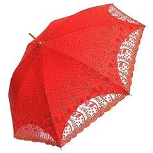 红色新娘伞双层蕾丝植绒绣出嫁伞婚礼婚庆结婚伞晴雨?#25509;贸?#26564;红伞