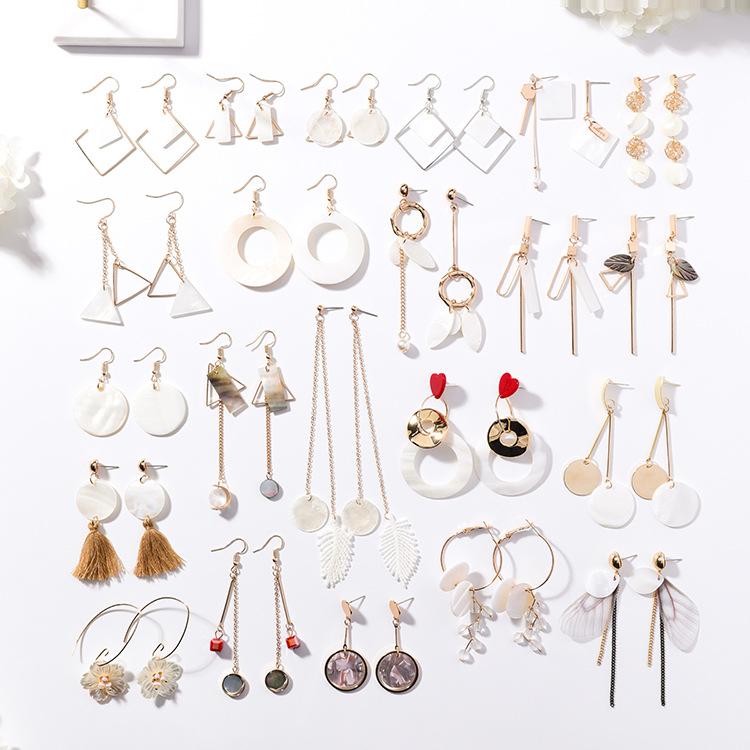 韩版手作贝壳花瓣几何圆形金属不对称长款耳环甜美爱心耳钉耳饰女